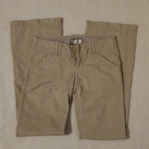 Flare khaki low rise pants